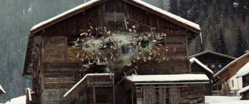 Digital explosion in Spectre's Austria sequence
