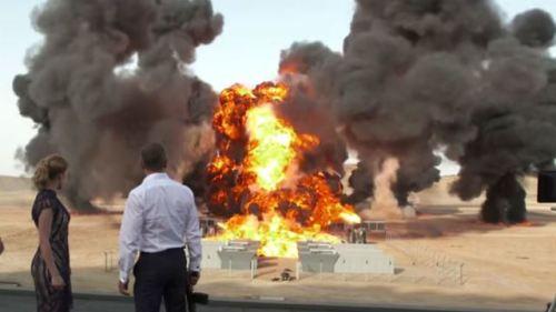 SPECTRE's desert base exploding